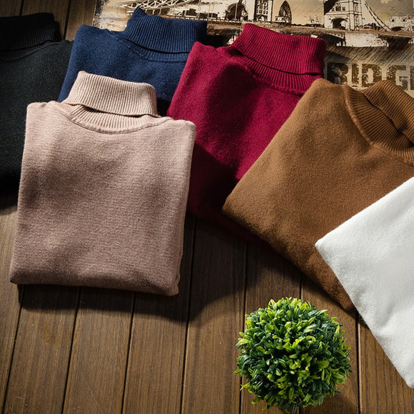 10 Colors Men's Solid Color Turtleneck Sweater Fit-fit Brand Casual Turtleneck Sweater Long-sleeved Sweater Soft And Comfortable