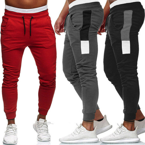 Winter Autumn Men's Track Pants Slim Cuff Sport Trousers 2020 Brand New Style Fashion Tracksuit Casual Plain Black Grey Red Pant