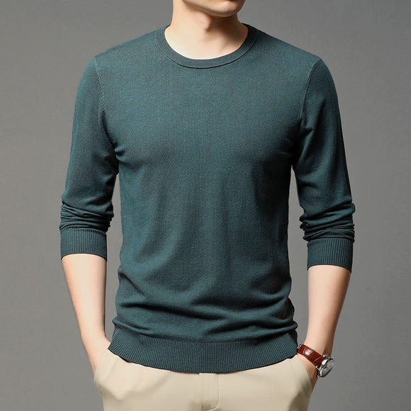 2020 Autumn New Men's Round Neck Knitted Pullover Business Casual Solid Color Sweater Bottoming Shirt Male Brand Clothes
