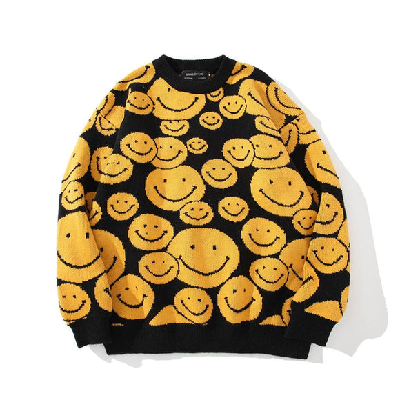 Men's Oversize Sweaters 2020 Autumn Winter Tops Smile Cartoon Clothing Hip Hop Streetwear Pullover Harajuku Sweater Men