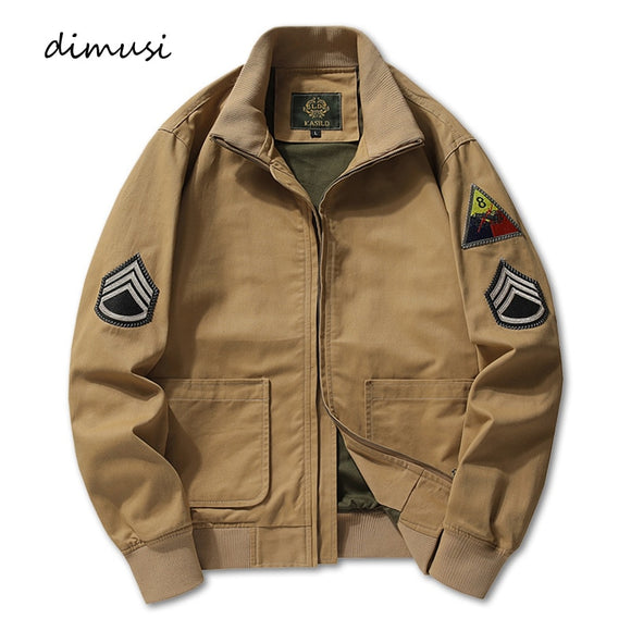 DIMUSI New Men's Bomber Jacket Casual Male Outwear Windbreaker Coats Fashion Stand Collar Retro Military Jackets mens Clothing