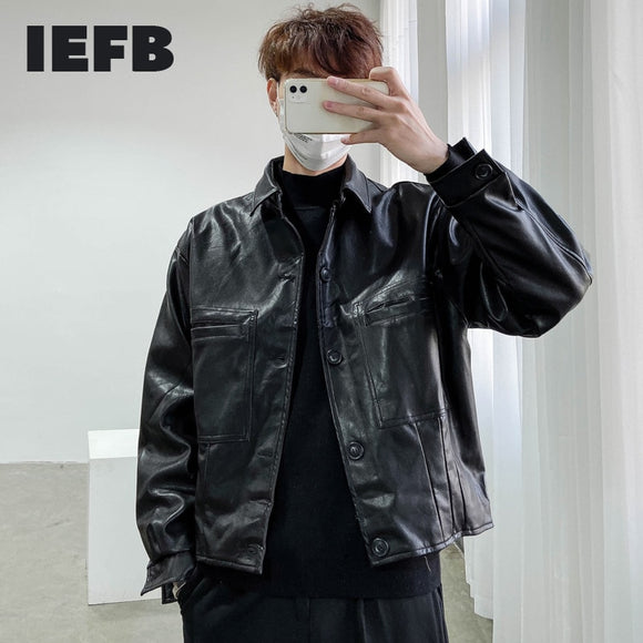 IEFB /men's wear Vintage trendy Pu Leather jackets for male 2021 spring  new Loose Coat single breasted long sleeve coat 9Y1420