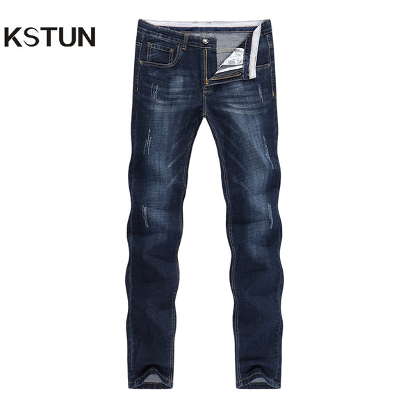 KSTUN Men's Jeans 2021 Summer Denim Pants Slim Straight Dark Blue Regular Fit Leisure Long Trousers Famous Brand Jean Men Hombre