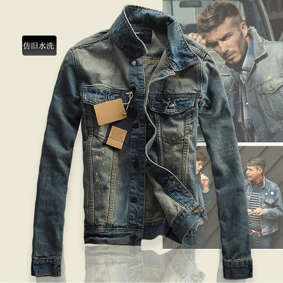 Fashion Men's Jeans Slim Fit MEN'S Jacket Jeans Coat Men's Winter Korean-style Denim Jacket Men's Fashionable New Style Overcoat