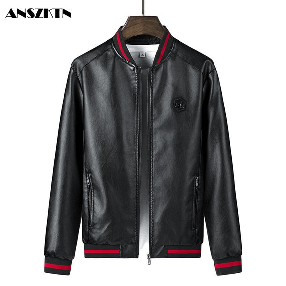 ANSZKTN New Arrivals Men's Slim Fit  Leather Jackets Motorcycle Jacket PU Business Thick Warm  Winter  Biker Coats Windp