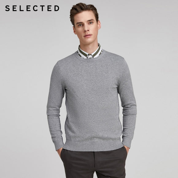 SELECTED Men's Temperament Pullover Knit Cotton Long-sleeved Sweater S|420124538
