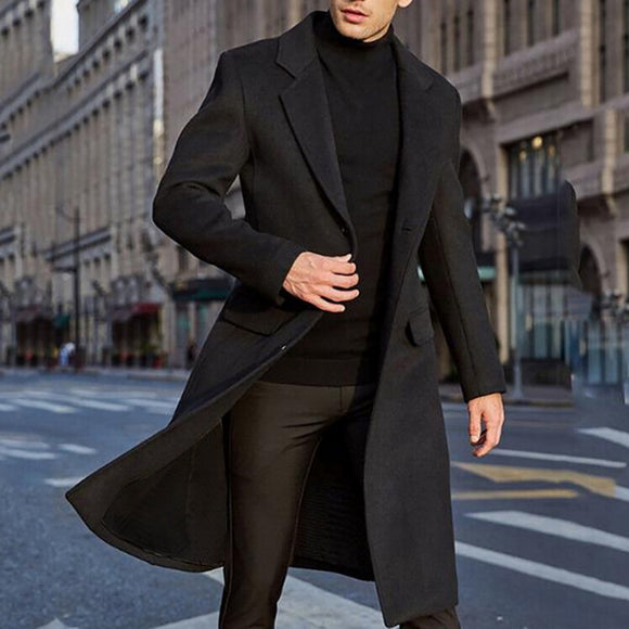 Winter Men Coats Woolen Solid Long Sleeve Jackets  Men Overcoats Streetwear Fashion Long Trench Outerwear 2020