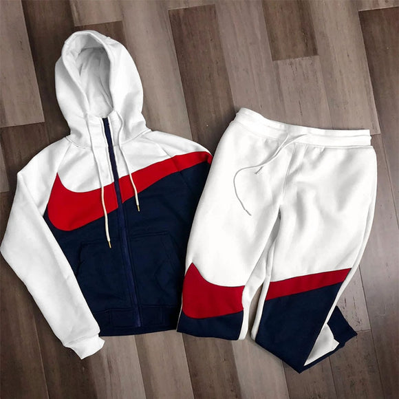 2021Spring and autumn new sports men's casual color matching zipper sports hooded sweater trendy men's training fitness suit