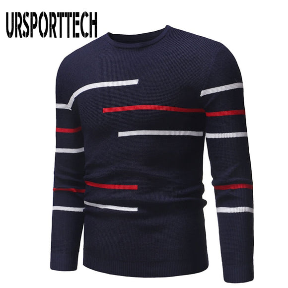 URSPORTTECH Men's Sweaters Autumn Men Clothing Casual Warm Print Knitted Turtleneck Sweatshirts Male Silm Fit Sweater Pullover