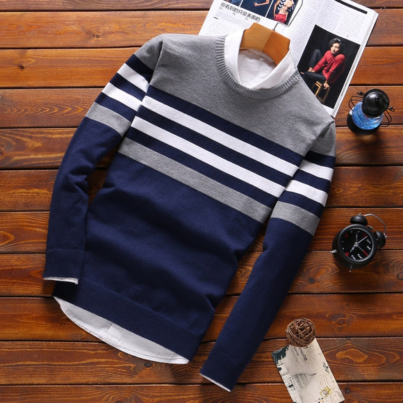 2021 Men's Sweaters Male Knitwear Sweater Warm Patchwork Round Collar Cotton Casual Wool Pullovers Mens Brand Plus Size 5XL