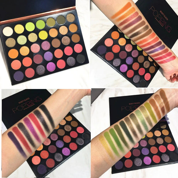 Popping 35 Color Matte Glitter Matte Eyeshadow Palette Highlight Maquillage Makeup Shimmer Powder Cosmetic