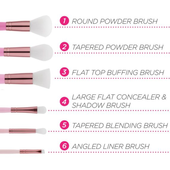 BH COSMETICS MINI PINK PERFECTION BRUSH SET 6 PIECES WITH BAG
