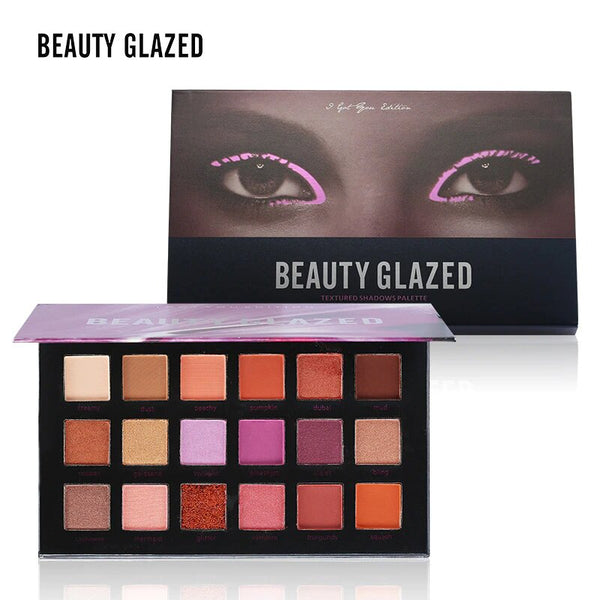 18 Colors Makeup Shimmer Matte Eyeshadow Palette Nude Mineral Warm Pigment Textured Eye Shadows Palette