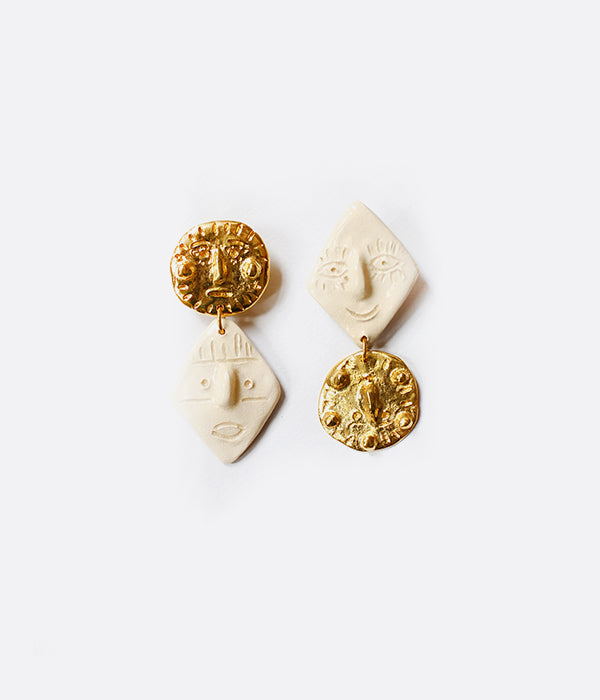 Boucles d'oreilles GOLDEN & WHITE DUDE TO DUDE