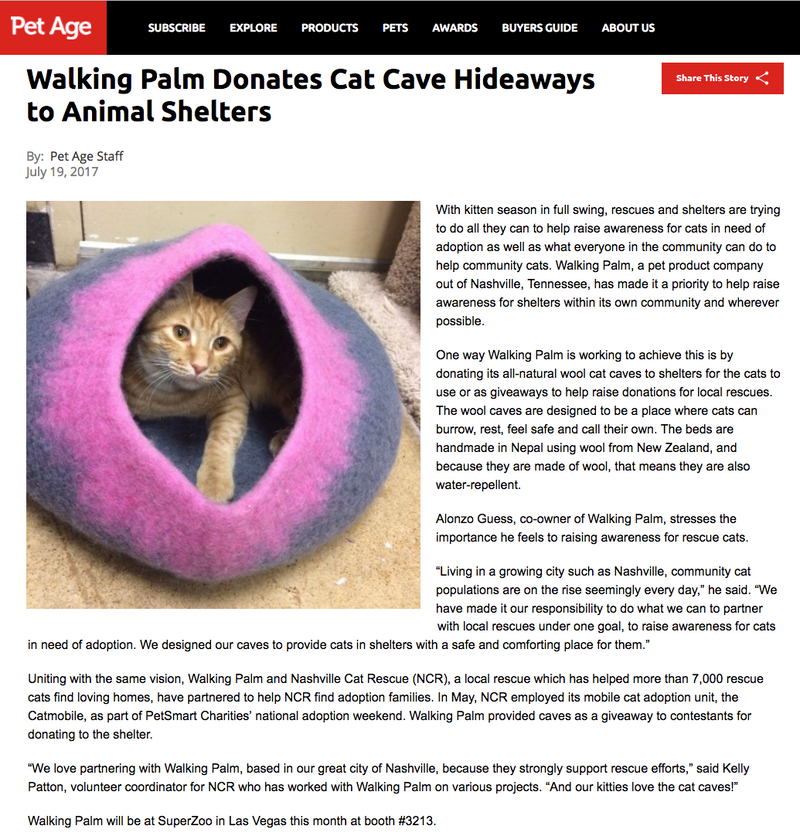 PET AGE: Walking Palm Donates Cat Cave Hideaways to Animal Shelters