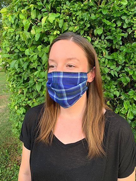 Face Mask -  Blue Plaid