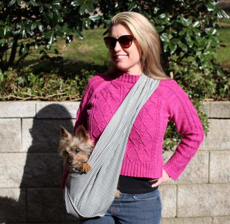 Dog Sling Carrier - Black and White Houndstooth Woven