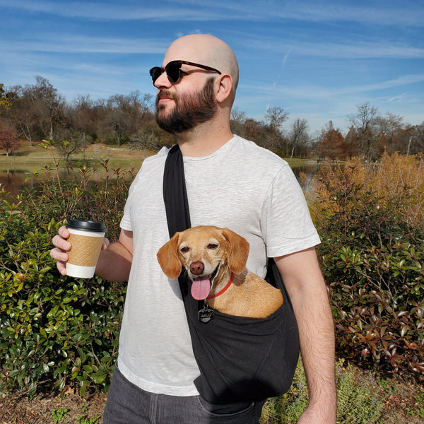 Dog Sling Carrier - Black Woven