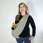 Dog Sling Carrier - Green Chevron Woven