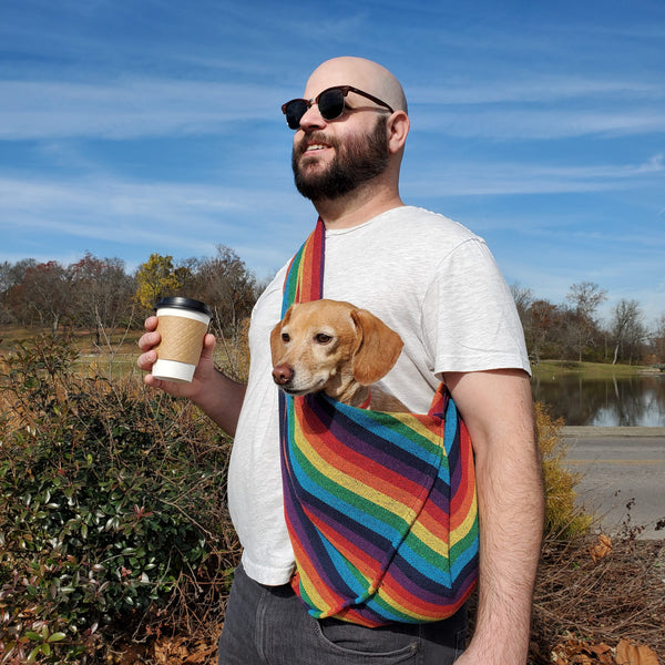 Dog Sling Carrier - Rainbow Woven