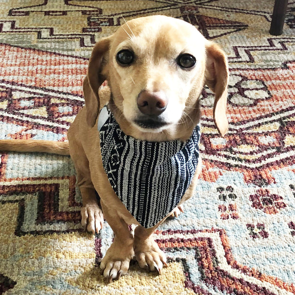 Dog Bandana Small - Salt & Pepper Woven