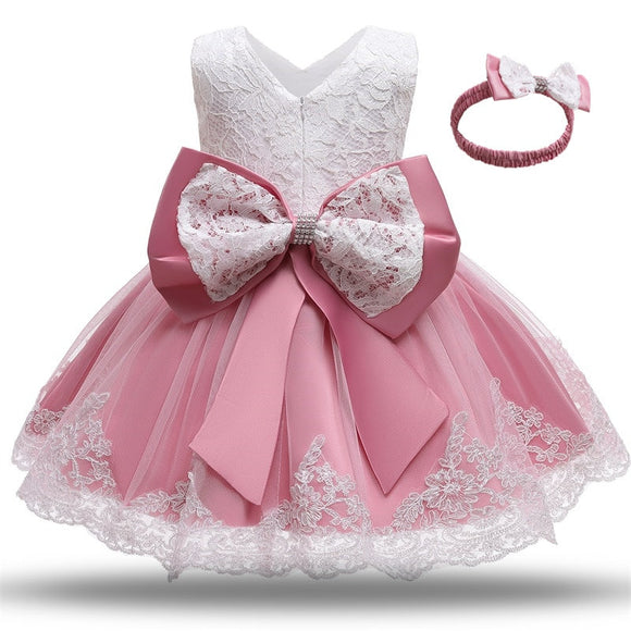 Formal gown back bow party dress with a headband