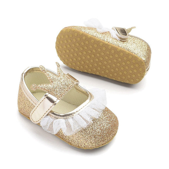 Glittering crown first walkers for baby girls