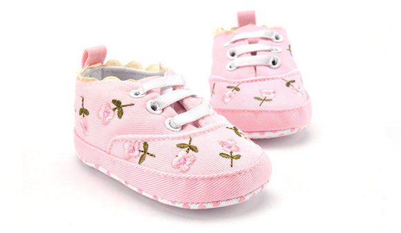Pink Floral Embroidered Soft Shoes