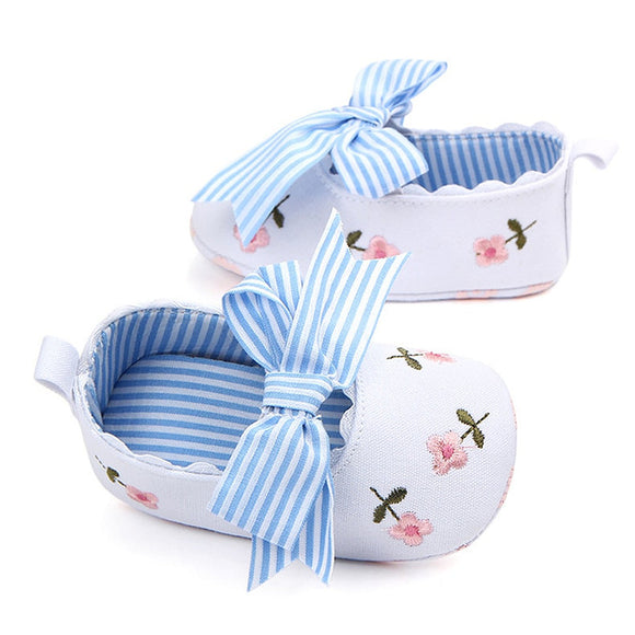 White Floral Embroidered Soft Shoes