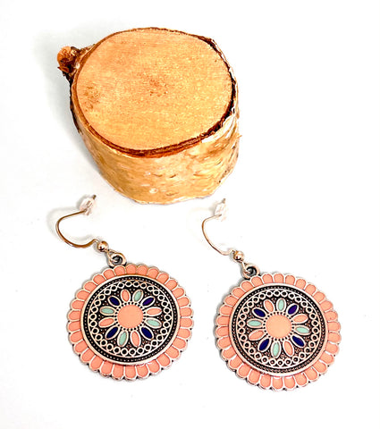 Colorful Round Boho Earrings