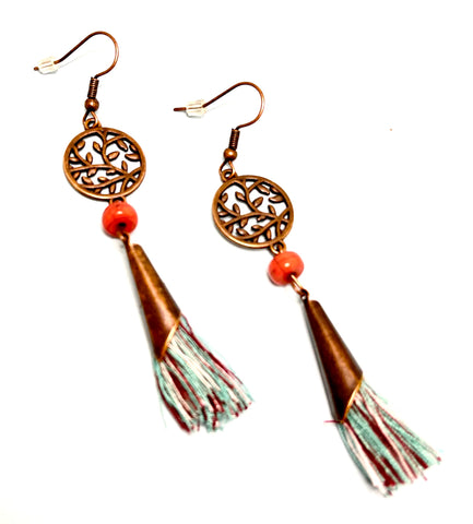Beads and Tassel Dangle Boho Earrings