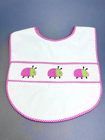 Lady Bug Smocked Baby Bib.