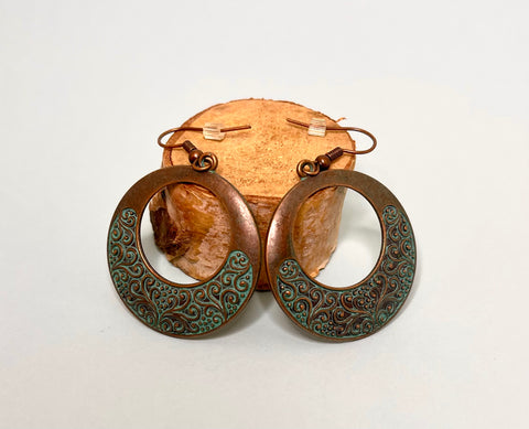 Turquoise Round Patina Boho Earrings