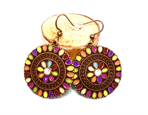 Colorful Stones Round Boho Earrings