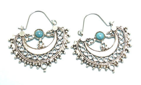 Antiqued Silver with Turquoise Center Stone Earrings