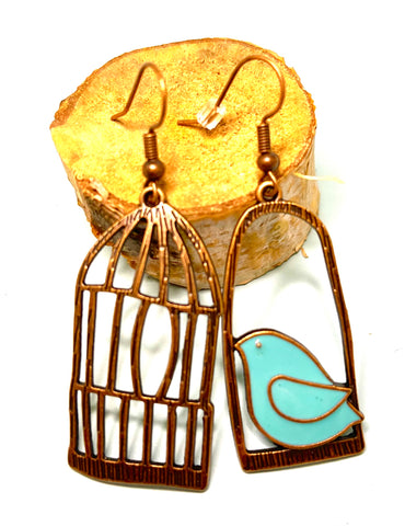 Antique Copper Boho Earrings with Turquoise Bird