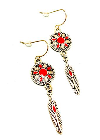 Boho Dangle Red Enamel and Feather Charm Earrings