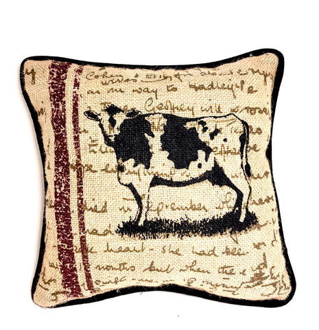 Small Burlap Square Cow Pillow
