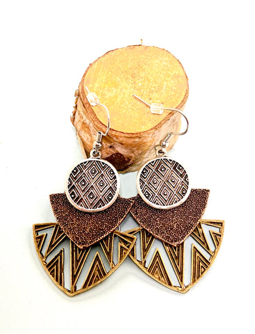 Antique Copper, Bronze and Silver Fancy Boho Earrings