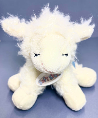 Soft Sheep Baby Rattle (Blue Bow)