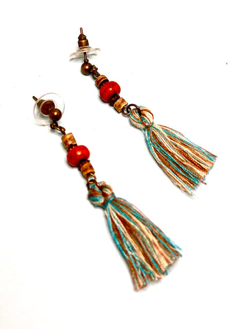 Beads and Tassel Stud Boho Earrings