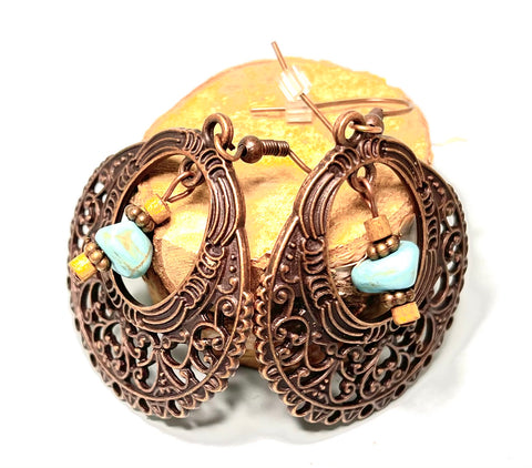 Antique Copper Boho Earrings with Turquoise Beads