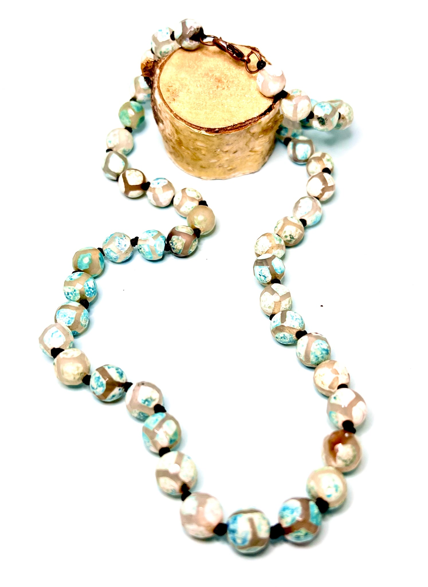 Hand Knotted Green Agate Stone Necklace.
