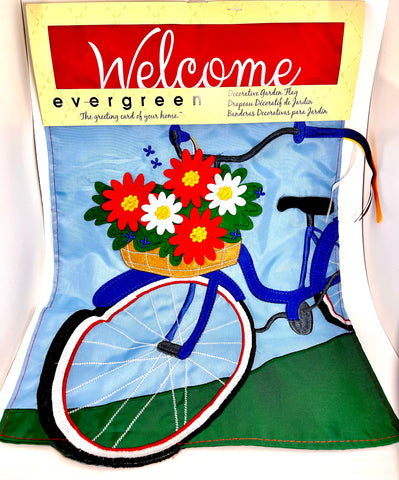 Appliqué Summertime Bicycle Yard Flag