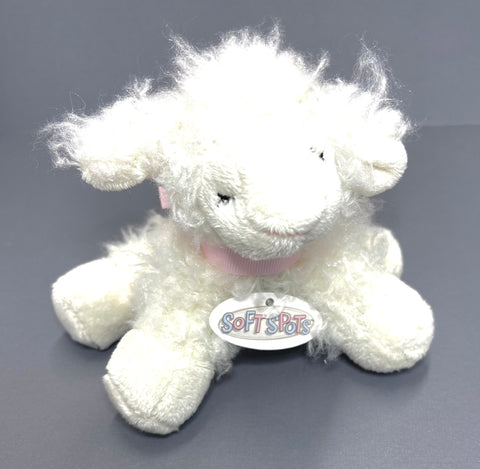 Soft Sheep Baby Rattle (Pink Bow)