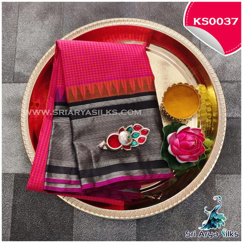 Bright pink with orange checked pattern (podi kattam) saree