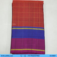 Load image into Gallery viewer, CS 0007 Rust Zari Checked Saree With Double Color Border Pallu Blouse Pink Kattam Checked Silk Saree Saree Sri Arya Silks Buy Silk Sarees Online Chennai 1 1
