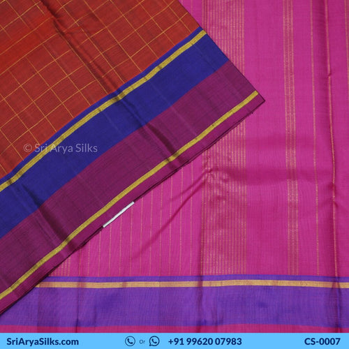 CS 0007 Rust Zari Checked Saree With Double Color Border Pallu Blouse Pink Kattam Checked Silk Saree Saree Sri Arya Silks Buy Silk Sarees Online Chennai 1 2