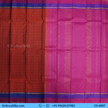 Load image into Gallery viewer, CS 0007 Rust Zari Checked Saree With Double Color Border Pallu Blouse Pink Kattam Checked Silk Saree Saree Sri Arya Silks Buy Silk Sarees Online Chennai 1 3