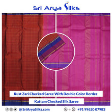 Load image into Gallery viewer, CS 0007 Rust Zari Checked Saree With Double Color Border Pallu Blouse Pink Kattam Checked Silk Saree Saree Sri Arya Silks Buy Silk Sarees Online Chennai 1 5
